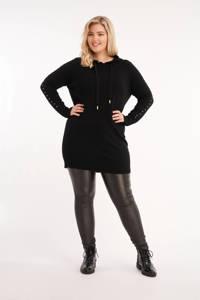 MS Mode hoodie met sierstenen zwart, Zwart