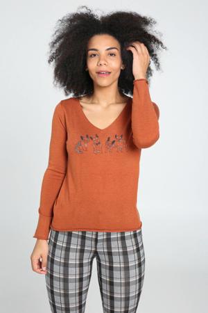 trui met wol en printopdruk oranje/zwart/wit