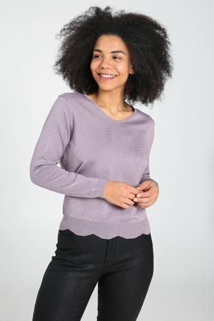 fijngebreide trui met glitters violet