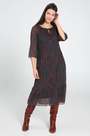 semi-transparante maxi jurk met all over print en vleermuismouwen donkerblauw/rood/zilver