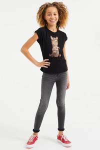 WE Fashion T-shirt met printopdruk en borduursels zwart/bruin/zalmroze, Zwart/bruin/zalmroze
