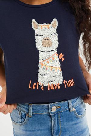 T-shirt met printopdruk en borduursels donkerblauw/wit/oranje