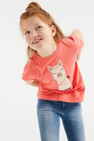 T-shirt met printopdruk en borduursels oranje/ecru/zwart