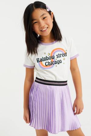 T-shirt met printopdruk en borduursels wit
