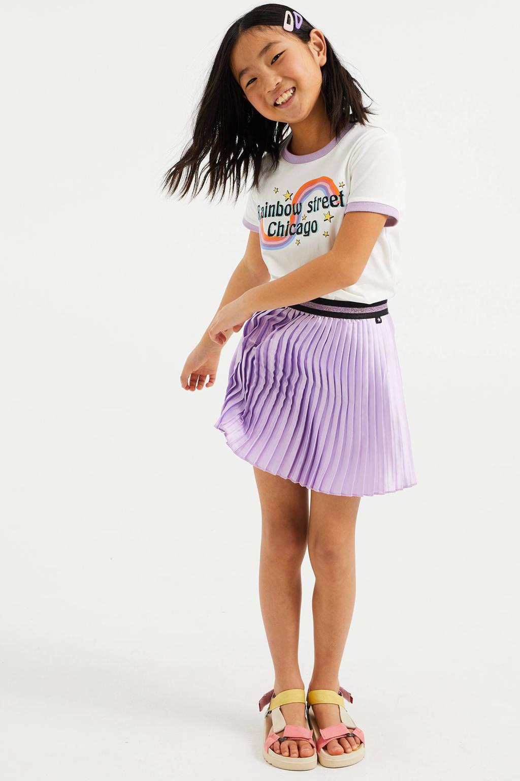 WE Fashion T-shirt met printopdruk en borduursels wit, Wit