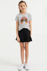 WE Fashion gestreept T-shirt wit/donkerblauw, Wit/donkerblauw