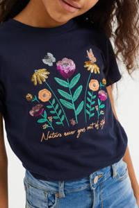 WE Fashion T-shirt met printopdruk en pailletten donkerblauw/groen/oranje, Donkerblauw/groen/oranje