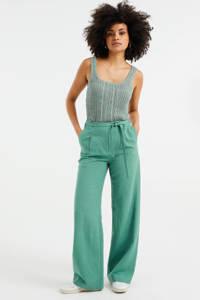 WE Fashion high waist loose fit palazzo broek met textuur dark mint, Dark Mint