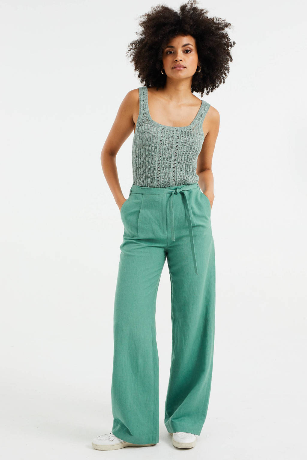 WE Fashion high waist wide leg palazzo broek met textuur dark mint, Dark Mint