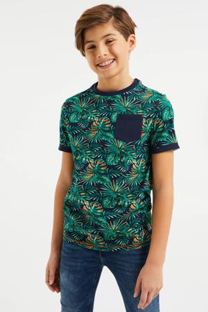 T-shirt met bladprint groen/blauw