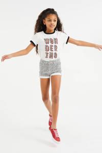 WE Fashion T-shirt met tekst en glitters wit/zwart/oranje, Wit/zwart/oranje