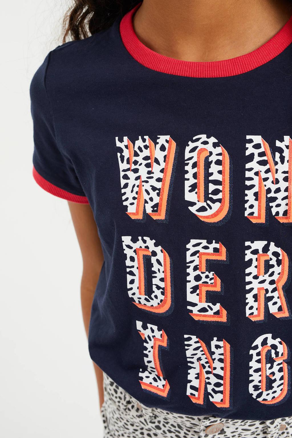 WE Fashion T-shirt met tekst en glitters donkerblauw/wit/zalmroze, Donkerblauw/wit/zalmroze