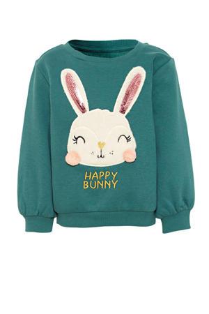 sweater met printopdruk en pailletten groen/wit/roze/geel