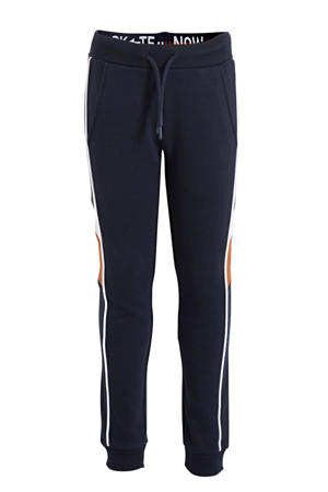 joggingbroek met zijstreep donkerblauw/wit/oranje