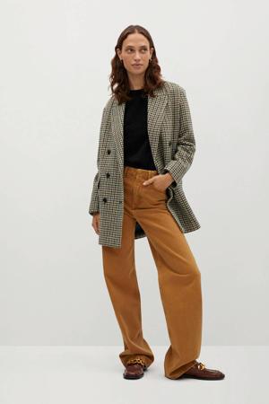 geruite wollen coat bruin/ beige