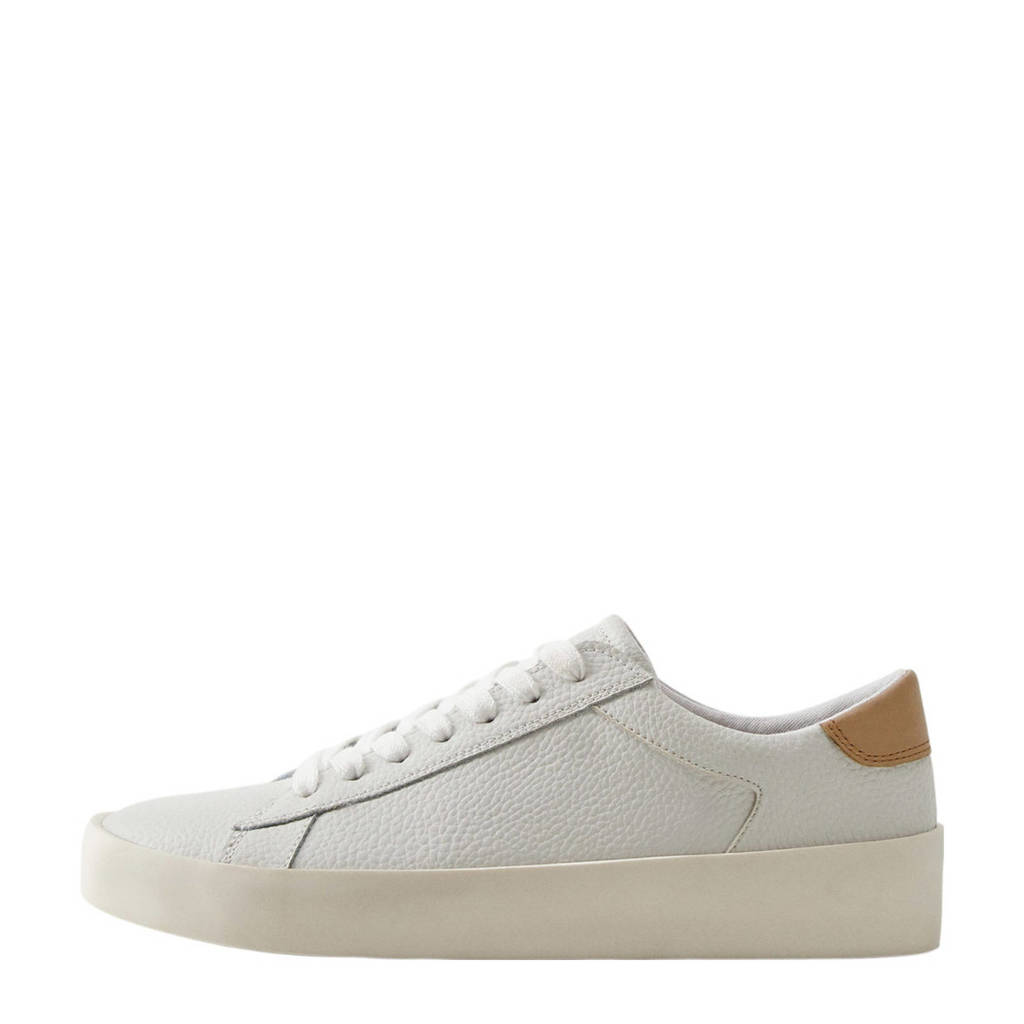Mango   leren sneakers wit, Wit/bruin