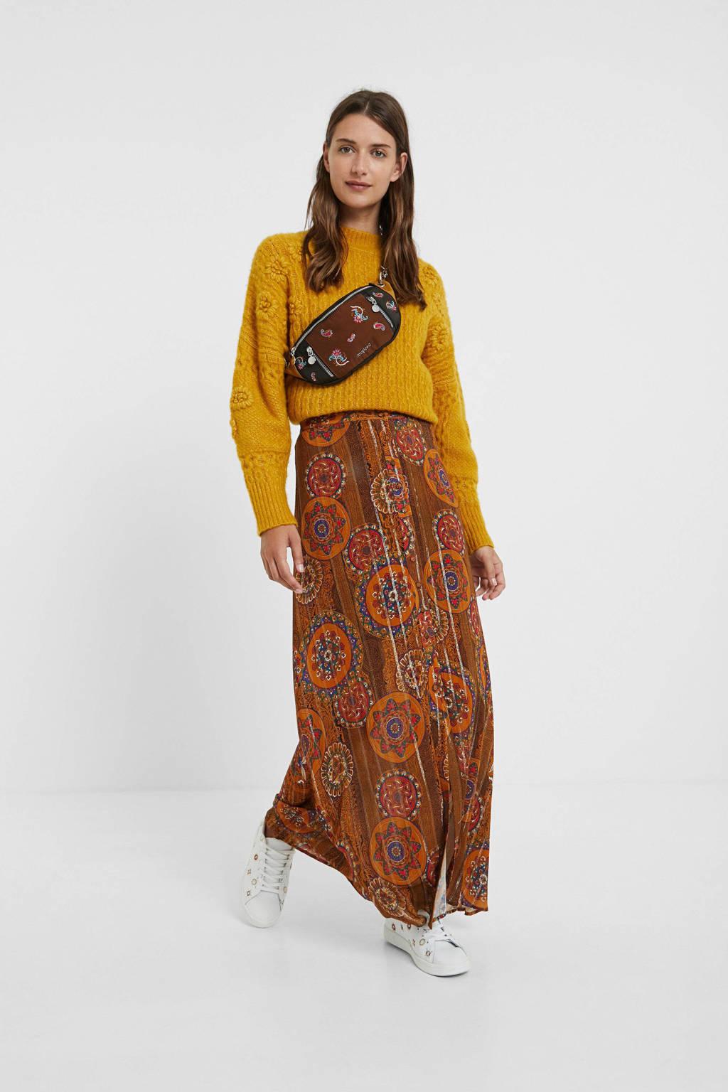 Desigual rok met all over print en glitters donker oranje/rood/goud, Donker oranje/rood/goud