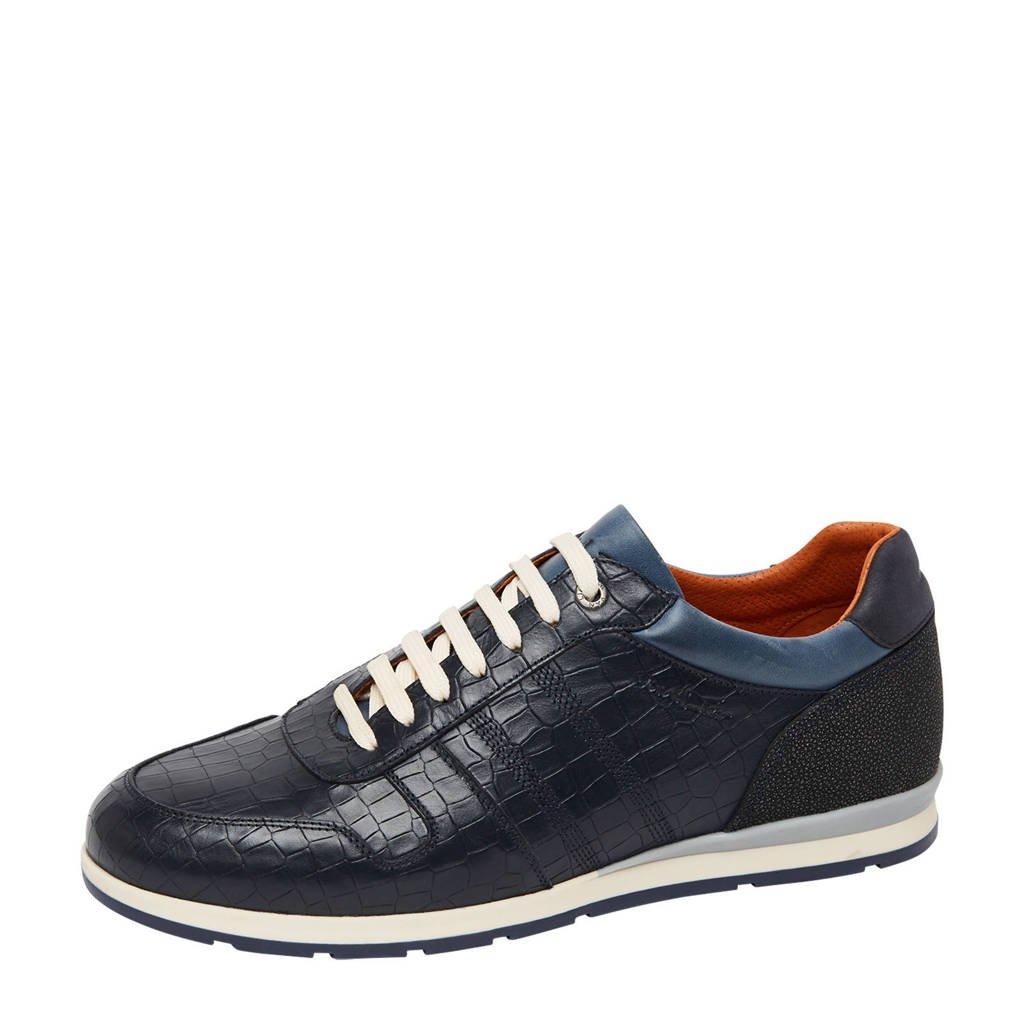 Van Lier Davinci  leren sneakers met crocoprint donkerblauw, Blauw