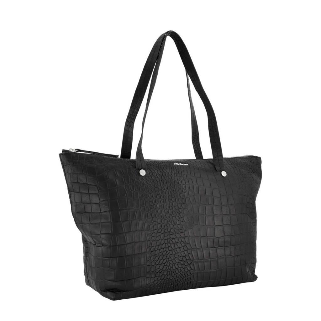 5th Avenue   leren handtas zwart, Zwart