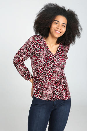 top met all over print donkerrood/zwart/ecru