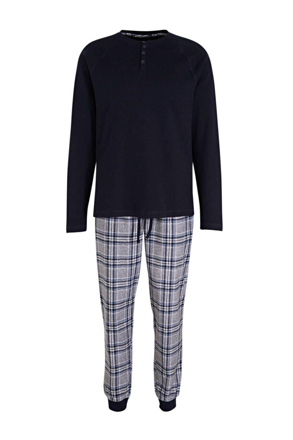 C&A Angelo Litrico pyjama met ruit donkerblauw/grijs, Donkerblauw