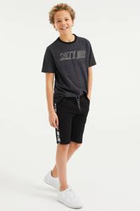 WE Fashion Salty Dog slim fit sweatshort zwart, Zwart