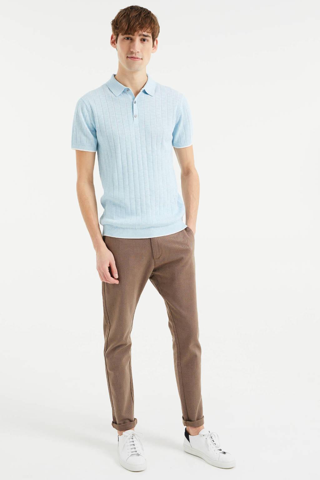 WE Fashion fijngebreide slim fit polo met contrastbies morning blue, Morning Blue