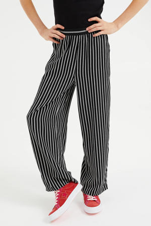 gestreepte straight fit broek zwart/wit