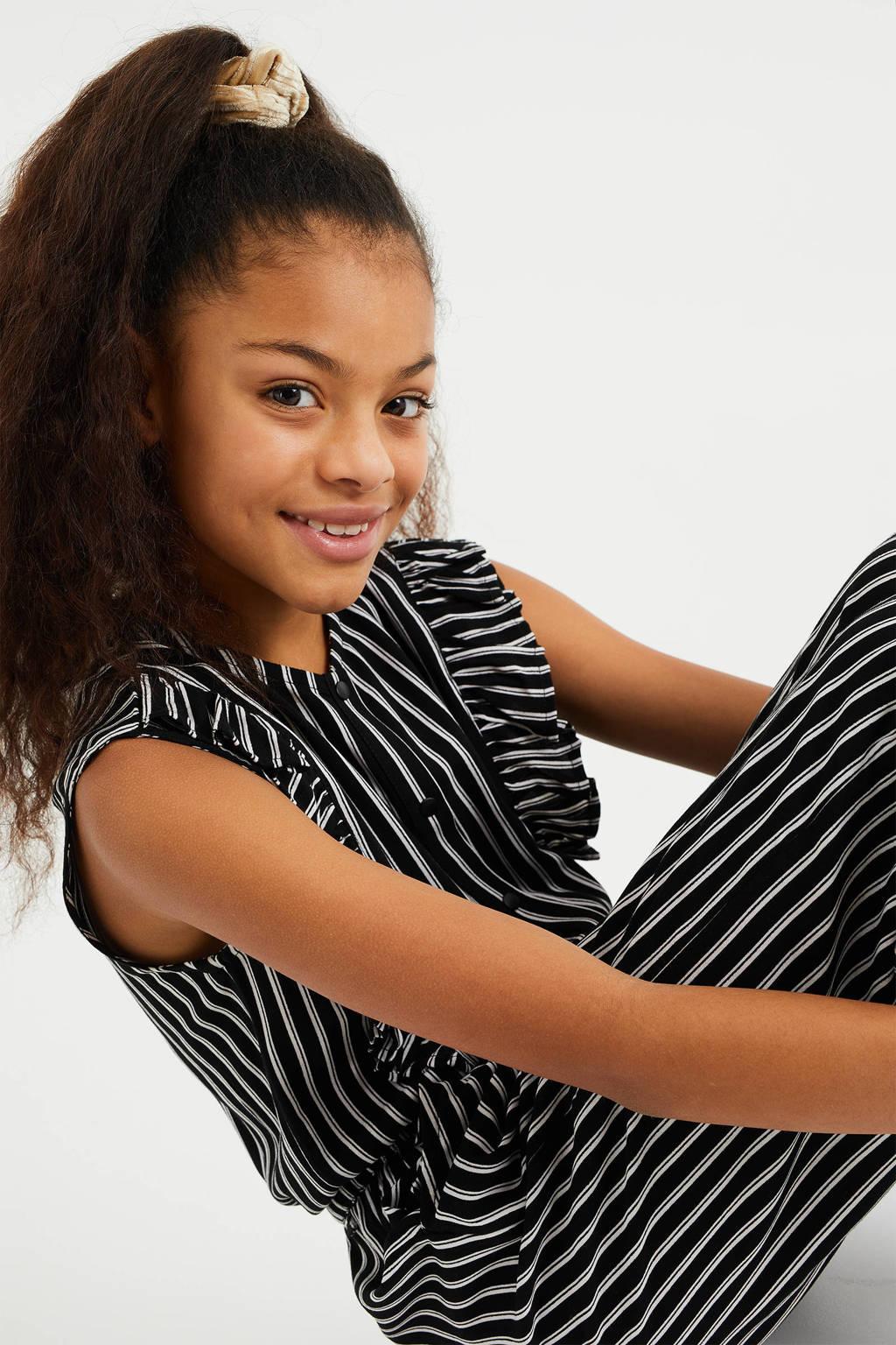 WE Fashion gestreepte jumpsuit zwart/wit, Zwart/wit