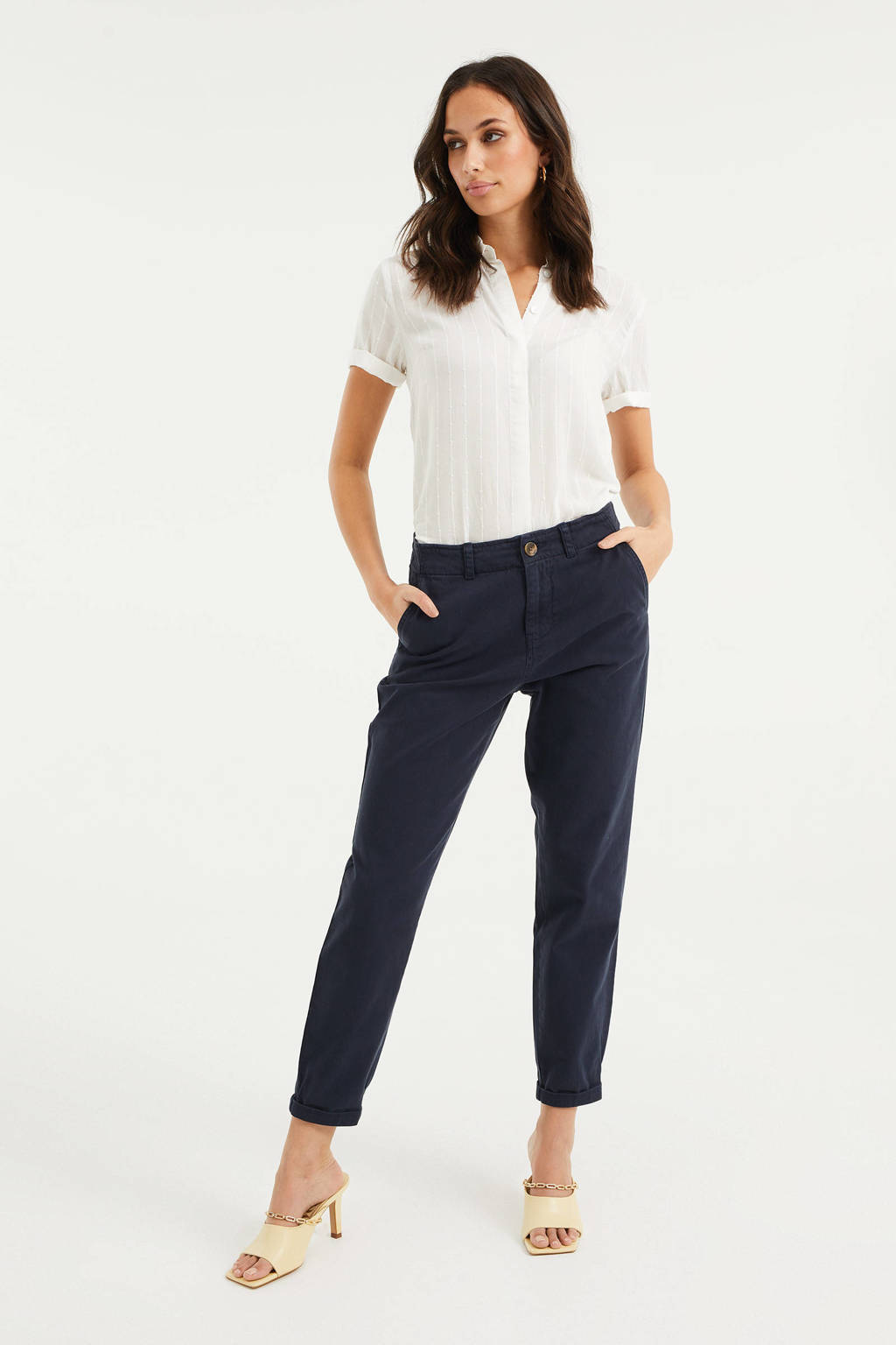 WE Fashion straight fit broek dark marine, Dark marine