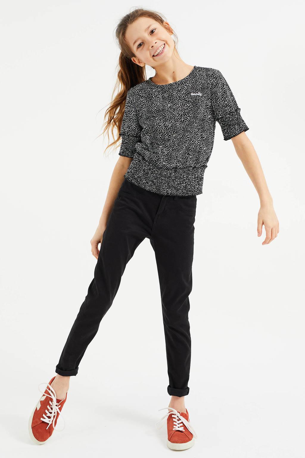 WE Fashion top met all over print zwart/wit, Zwart/wit