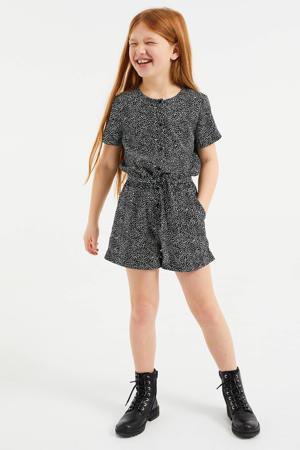 jumpsuit met all over print zwart/wit