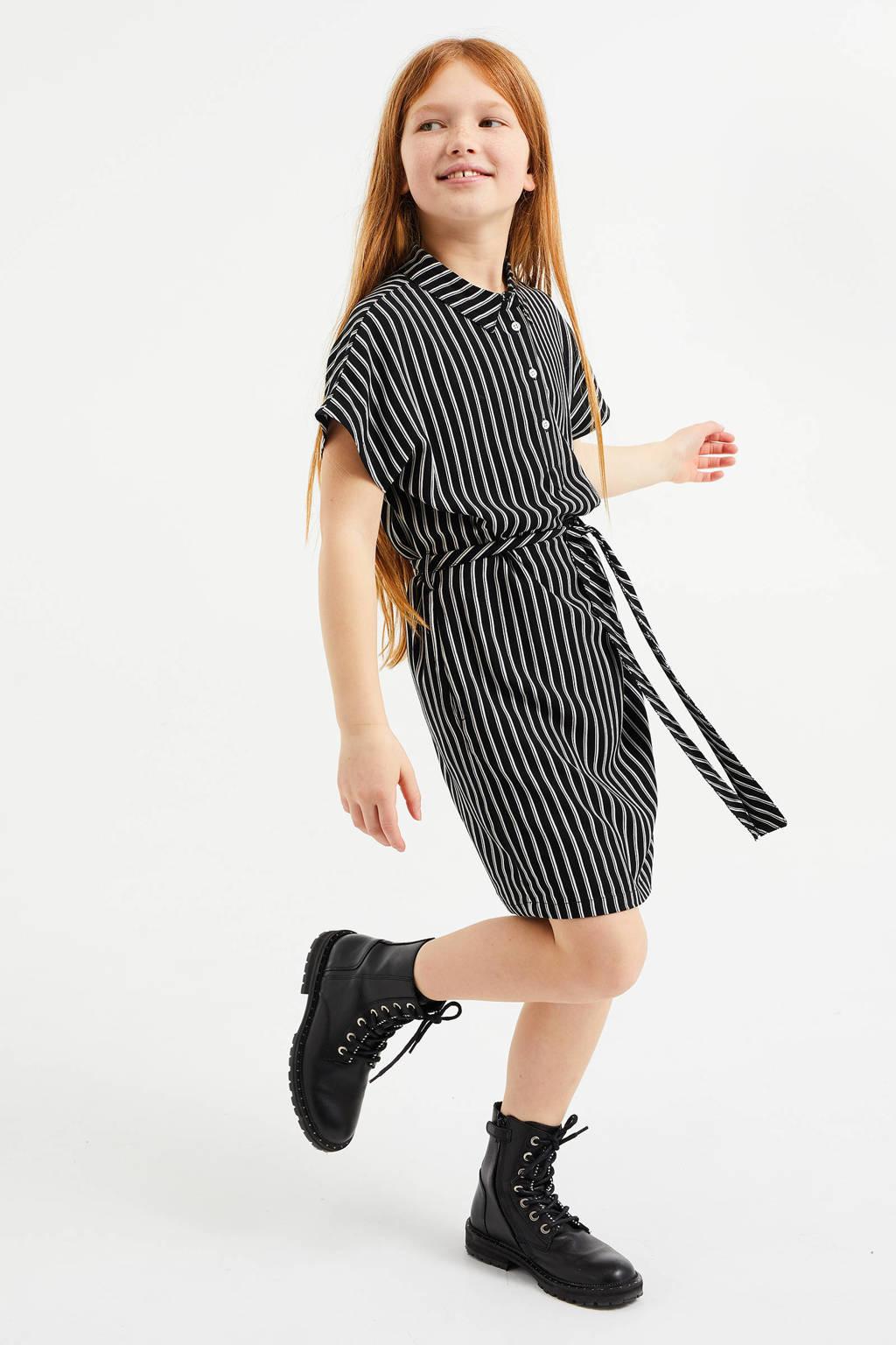 WE Fashion gestreepte blousejurk zwart/wit, Zwart/wit