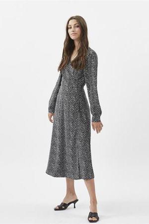 jurk Elastica met all over print zwart