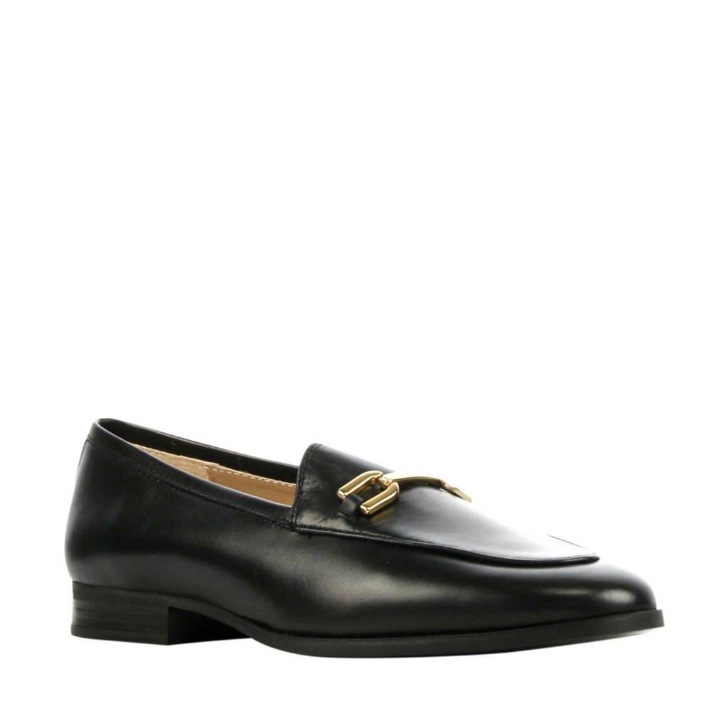 Unisa Daimiel  leren loafers zwart, Zwart/goud