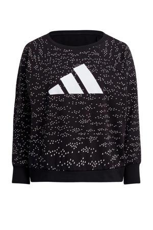 Plus Size sportsweater zwart/wit