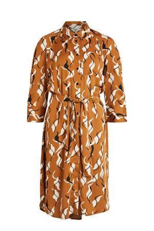blousejurk OBJHELENA met all over print en ceintuur camel/wit/zwart