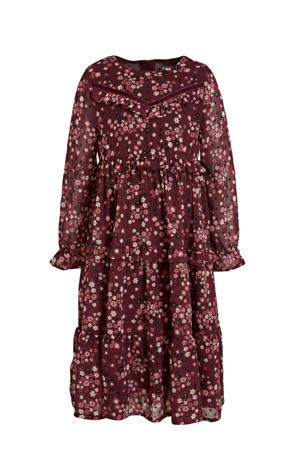 gebloemde A-lijn jurk donkerrood/roze