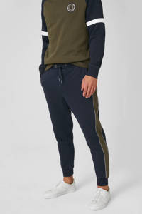 C&A slim fit joggingbroek met zijstreep donkerblauw, Donkerblauw