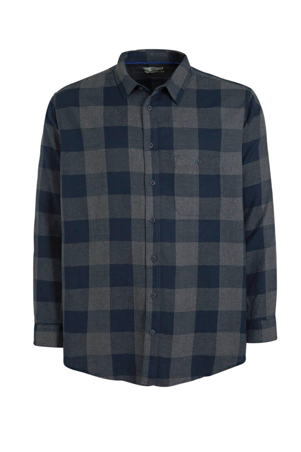 C&A XL geruit regular fit overhemd met biologisch katoen donkerblauw, Donkerblauw