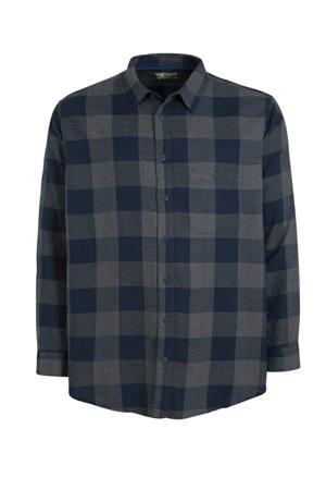 geruit regular fit overhemd met biologisch katoen donkerblauw