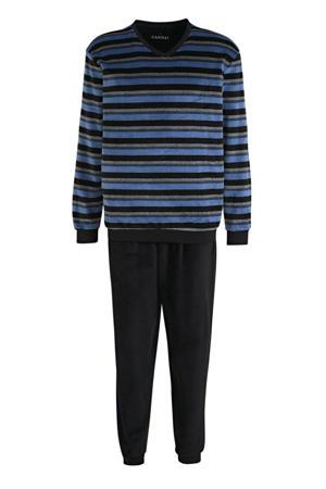 velours pyjama met strepen donkerblauw/blauw