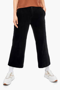 s.Oliver corduroy cropped loose fit broek zwart, Zwart