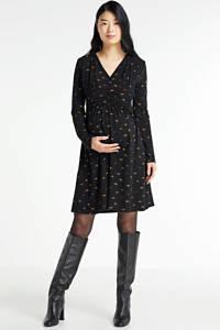 LOVE2WAIT gebloemde zwangerschaps- en voedingsjurk Dress Nursing AOP Mille Fleurs zwart, Zwart