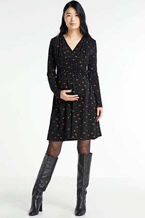 gebloemde zwangerschaps- en voedingsjurk Dress Nursing AOP Mille Fleurs zwart