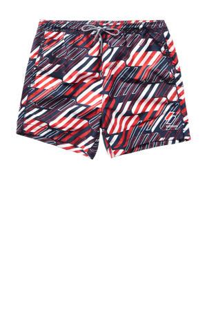 zwemshort met all over print rood/zwart/wit