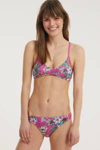 Superdry gebloemd bikinibroekje fuchsia, Fucsia