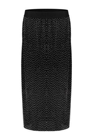 semi-transparante rok met stippen zwart/wit