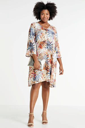 jurk met all over print oranje/multi