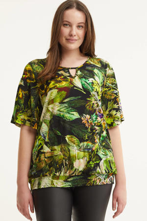 top Mona  met all over print en open detail donkergroen/groen/ecru